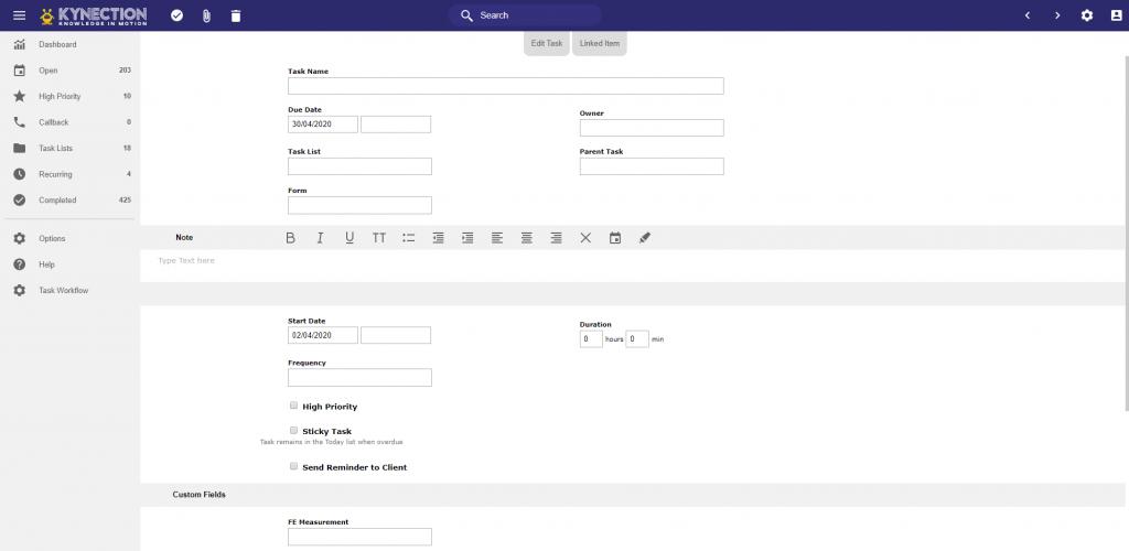 task management software screenshot from kynection
